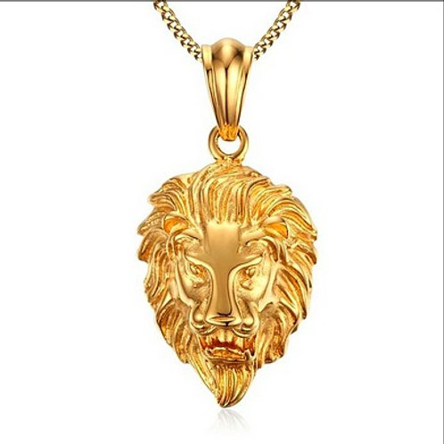 HIGH POLISHED LION HEAD PENDANT & NECKLACE SET