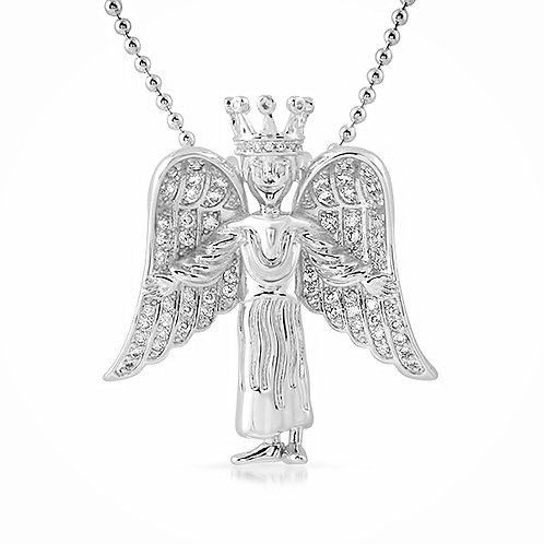 3D ICED ANGEL PENDANT PLATINUM