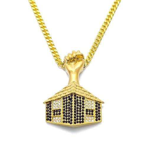 TRAP HOUSE FIST PENDANT & NECKLACE SET