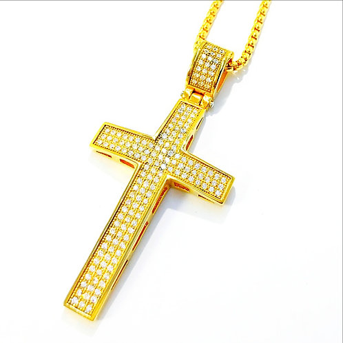 HIGH POLISHED MICRO PAVED CROSS IP GOLD PENDANT &