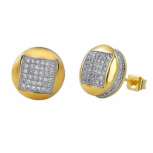 MICROPAVE CZ ICED OUT ROUND EARRINGS GOLD