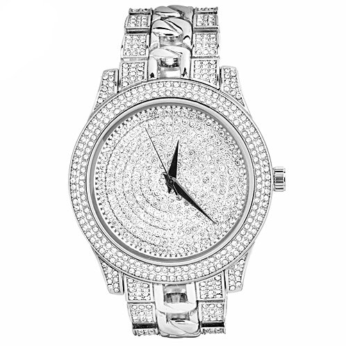 FROZEN WATER ICED OUT CUBAN LINK PATTERN BAND WATCH PLATINUM