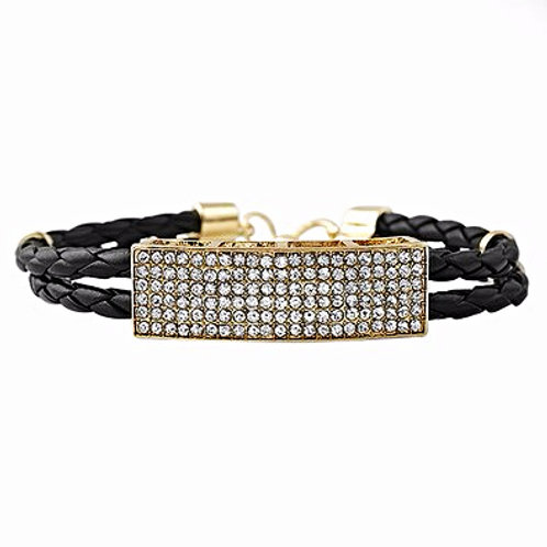 2 ROW BLACK LEATHER STRANDS ID GOLD
