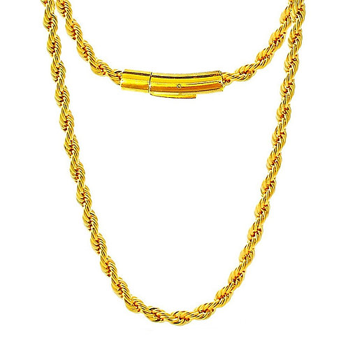 NEW HIGH POLISHED ROPE 4MM CHAIN IP GOLD