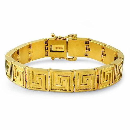 GREEK PATTERN LINK HIGH POLISHED BRACELET IP GOLD
