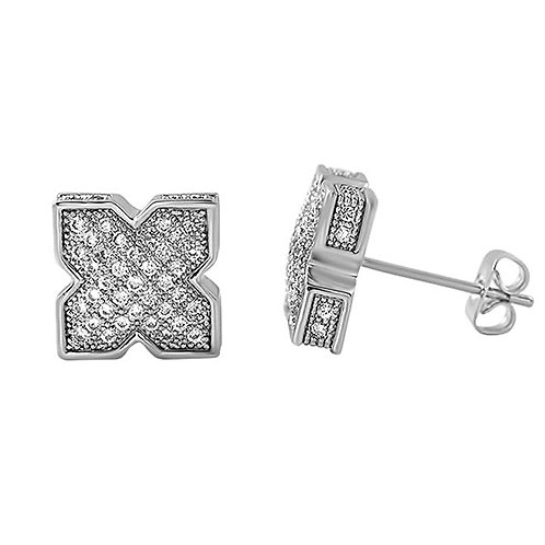 X SHAPE ICED OUT EARRINGS PLATINUM