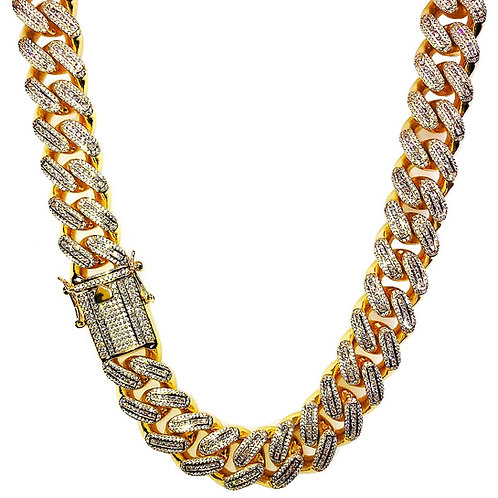 ICED OUT BAGUETTE STONES 18MM CUBAN LINK CHAIN