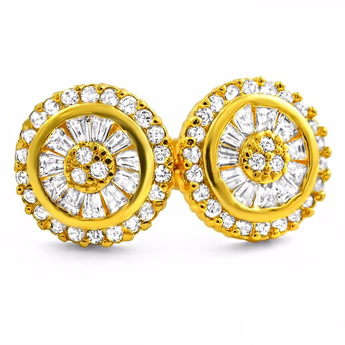 BAGUETTE CZ ICED OUT STUD EARRINGS GOLD