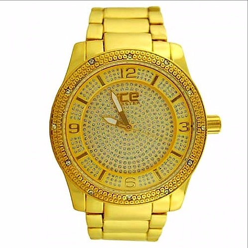 ICE MASTER MICRO PAVE FACE BEZEL WATCH GOLD