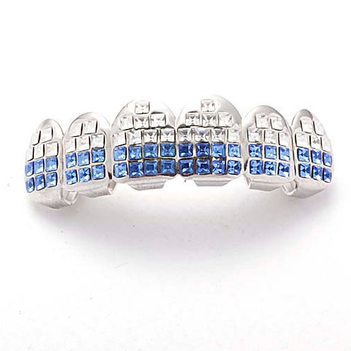 ICED OUT WHITE & BLUE ROWS TOP GRILLZ