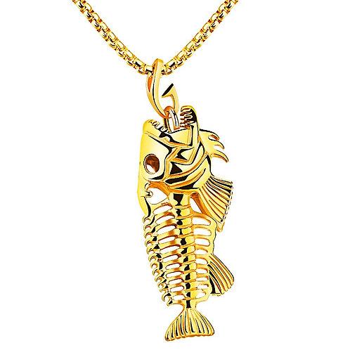FISH BONE & FISHING HOOK PENDANT & NECKLACE HIGH POLISHED IP GOLD