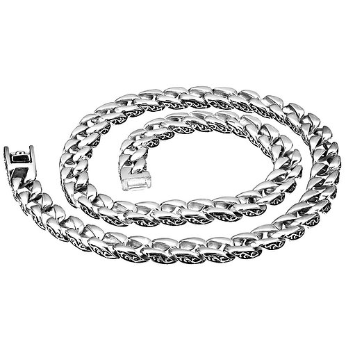 HIGH POLISHED WAVE DESIGN ON THE SIDE 13MM CUBAN CHAIN