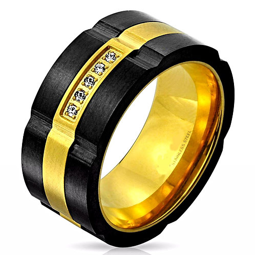 TWO TONE IP SPINNER IP 5 CLEAR CZ RING