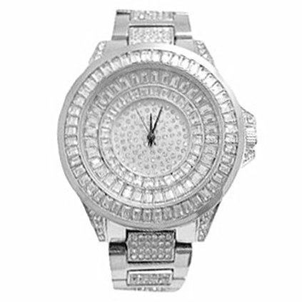 CIBLE MICRO PAVE CZ QUARTZ WATCH PLATINUM