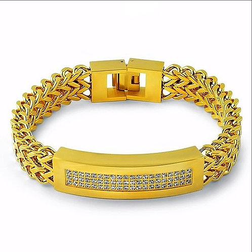 3 ROW CZ ID PLATE DOUBLE FRANCO LINK BRACELET GOLD