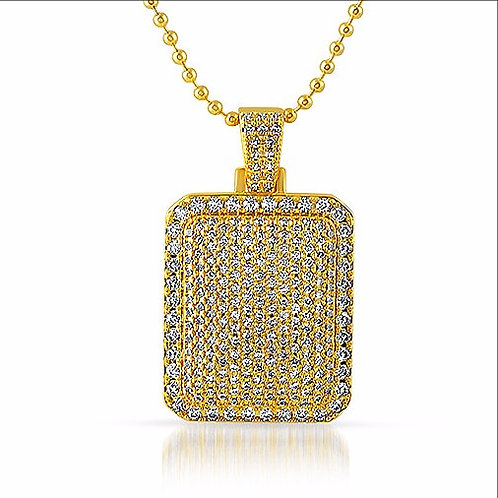 ICED OUT CUSHION DOGTAG PENDANT GOLD