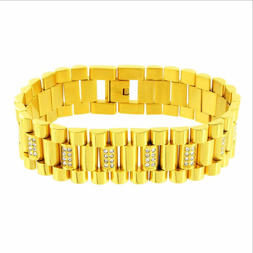 The Rolex Link Bracelet Is Made Out Of 316l Stainless Steel And Finished Off In Ip Gold It Contains A Fold Over Clasp For Secure Fitment