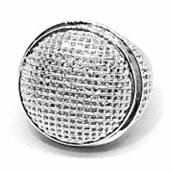 BIG CIRCLE DOME ALL AROUND CZ ICED OUT RING PLATINUM