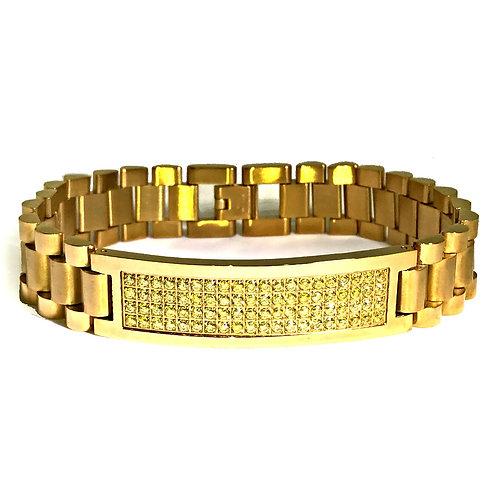 LEMONADE CZ ID TAG PRESIDENTIAL BRACELET IP GOLD