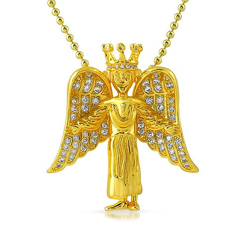 3D ICED ANGEL PENDANT GOLD