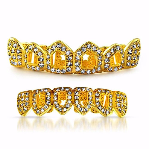 MICRO PAVED CZ 4 OPEN TOOTH ICE FANG TOP & BOTTOM GRILLZ SET
