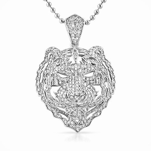 3D ICED OUT TIGER FACE PENDANT PLATINUM
