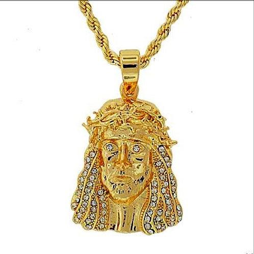 MINI JESUS FACE CROWN OF THORNS PENDANT GOLD
