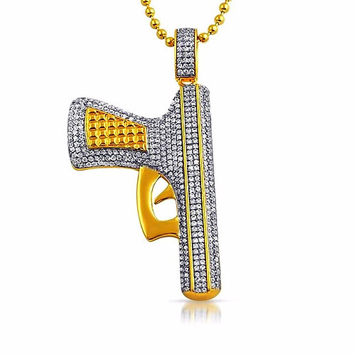 HAND GUN ICED OUT PENDANT & NECKLACE SET GOLD