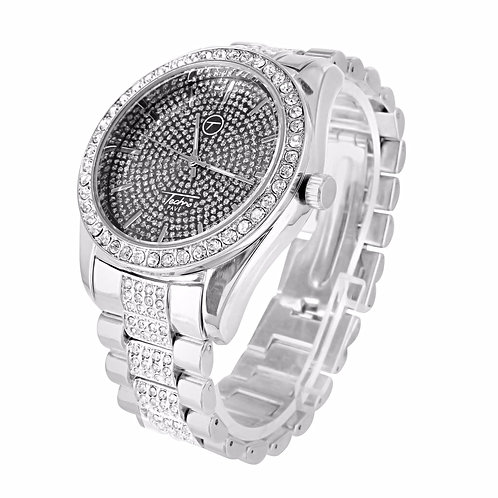 TECHNO PAVE ICE KING MICRO PAVED WATCH PLATINUM BLACK FACE