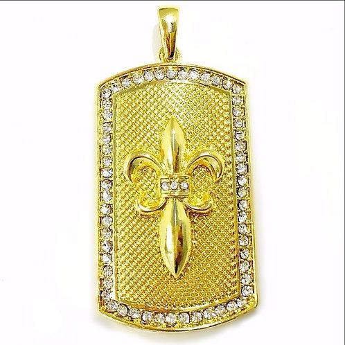 CZ OUTLINED FLEUR DE LI PEDANT GOLD