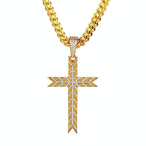 ICED OUT SNOW FLAKE PATTERN CROSS PENDANT & NECKALCE SET GOLD