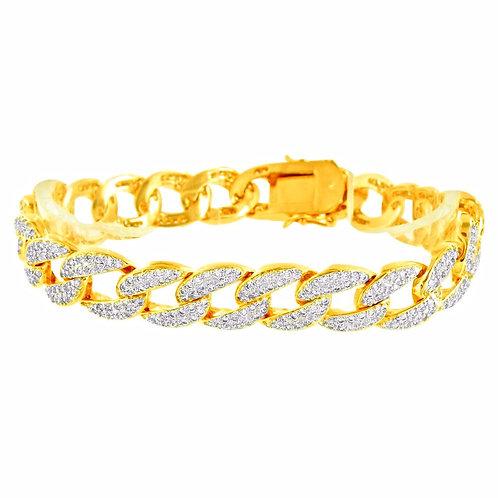 MICRO PAVED CZ CUBAN 11MM BRACELET GOLD