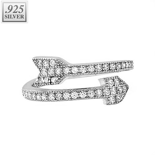 CELEB INSPIRED ICED OUT ARROW PINKY FINGER RING PLATINUM