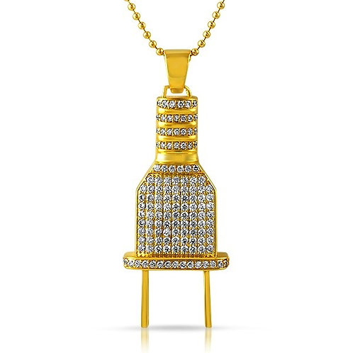 ICED OUT POWER PLUG CZ PENDANT GOLD