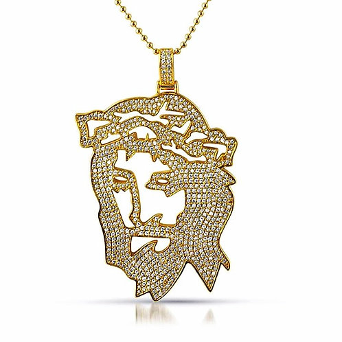 JESUS OUTLINE ICED OUT PENDANT GOLD