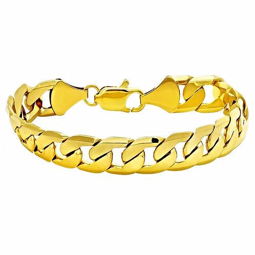 FLAT CUT CUBAN 12MM BRACELET GOLD