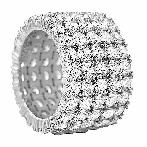 5 ROW 360 DEGREES ICED OUT ETERNITY RING PLATINUM