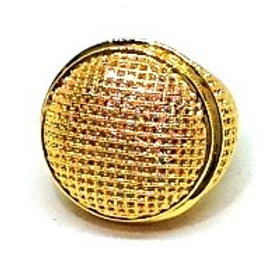 BIG CIRCLE DOME ALL AROUND CZ ICED OUT RING GOLD