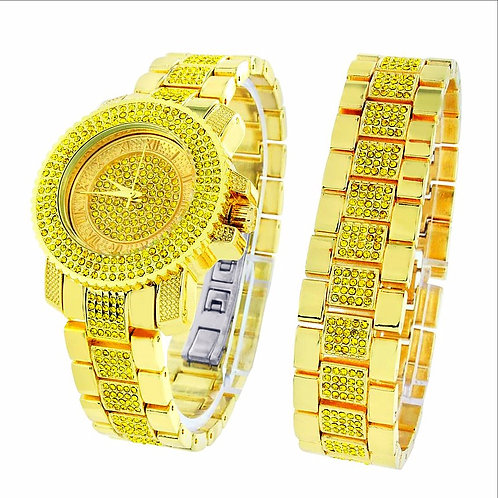 TECHNO PAVE QUARTZ WATCH & BRACELET SET LEMONADE CZ