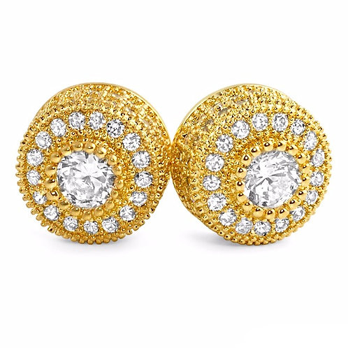 FANCY CLUSTER SIMULATED DIAMOND STUDS GOLD