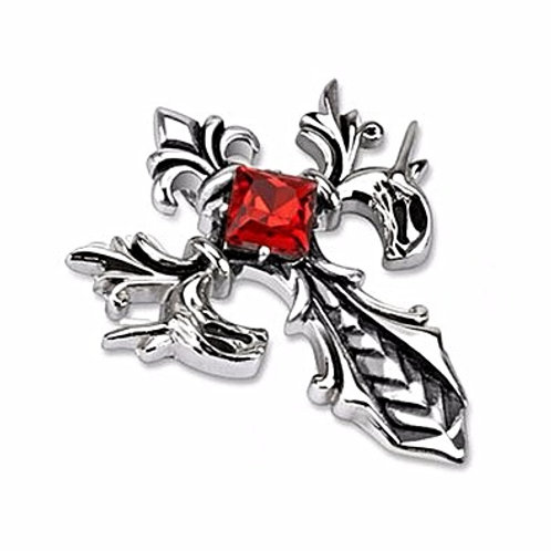 FLEUR DE LIS CROSS WITH RUBY CZ