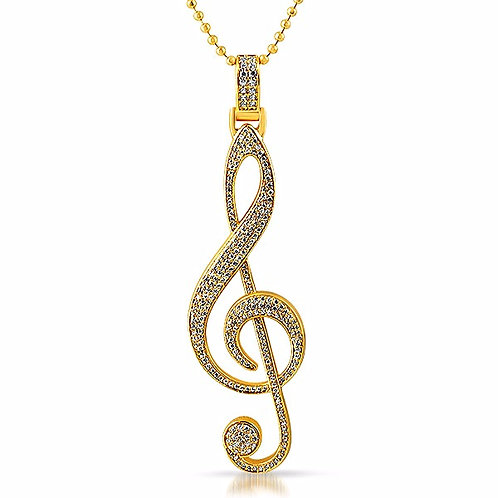 ICED OUT TREBLE CLEF MUSIC PENDANT GOLD