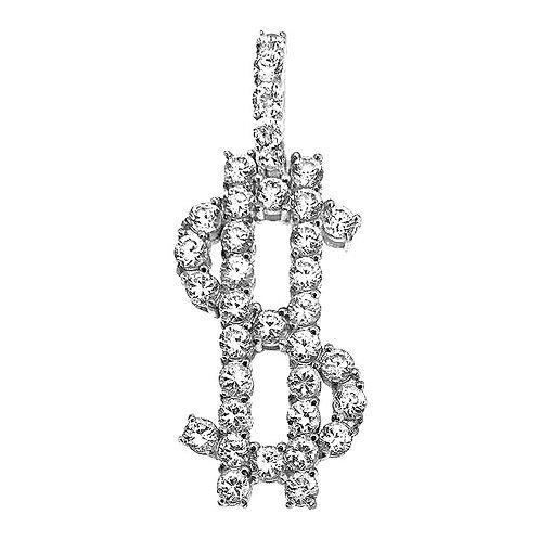 $ DOLLAR SIGN CZ DIAMOND PENDANT HIGH POLISHED