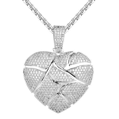 BROKEN HEART LOVE 3D ICED OUT PENDANT & NECKLACE SET PLATINUM