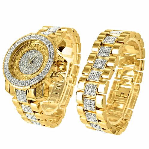 TECHNO PAVE QUARTZ WATCH & BRACELET SET GOLD