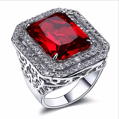 LAB MADE SQUARE RUBY ICED OUT RING PLATINUM