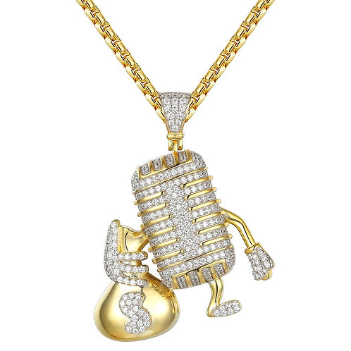 MICROPHONE HOLDING MONEY BAG ICED OUT LAB MADE SIMULATED DIAMONDS PENDANT