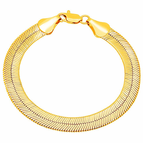 HERRINGBONE 9MM BRACELET GOLD