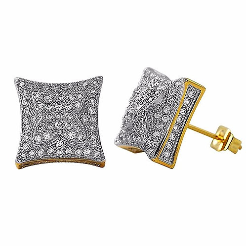 PUFFED KITE MICROPAVE CZ EARRINGS GOLD