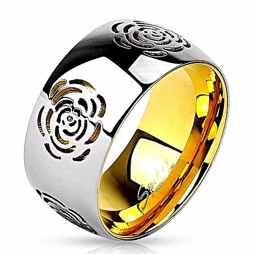 ROSE CUT OUT TWO TONE GOLD IP RING